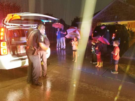 The rain did not deter some residents from meeting with Prosper Police Department during the National Night Out Block Parties on Tuesday October 3